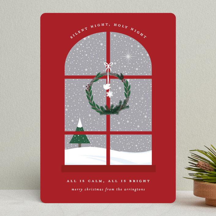 """""""Wintery Silent Night"""" - Holiday Cards in Crimson by Bonjour Berry."""