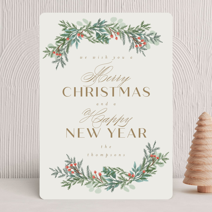 """""""Merry and Happy"""" - Holiday Cards in Toffee by Ashlee Townsend."""