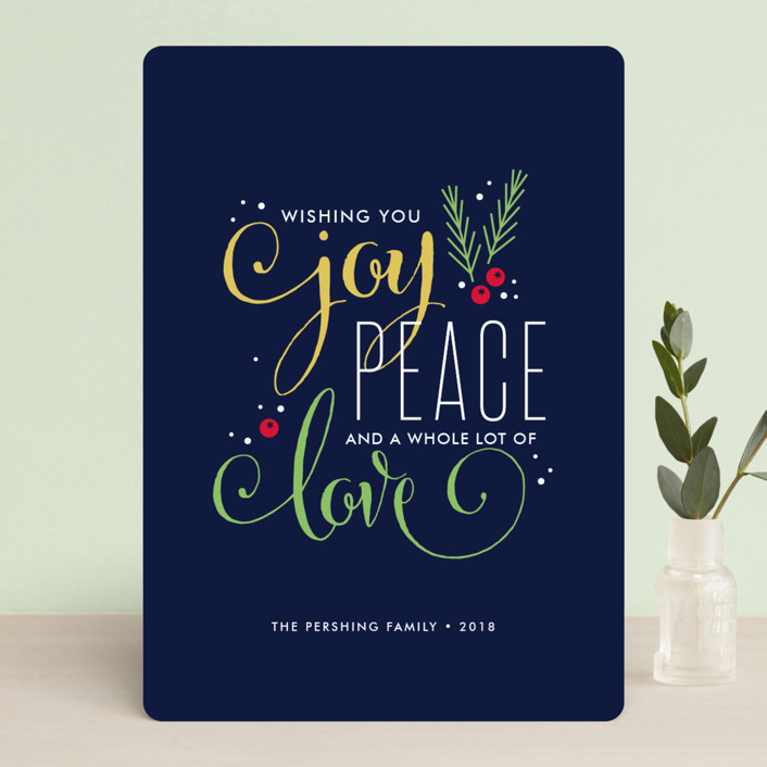 """Peaceful Wish"" - Holiday Cards in Blueberry by Jessica Williams."