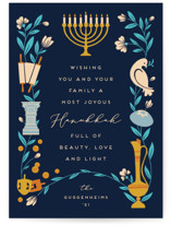 This is a blue non photo holiday card by Jamie Alexander called Symbols of Hanukkah with standard printing on signature in standard.