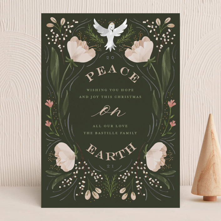 """""""Botanical Peace on Earth"""" - Bohemian Holiday Cards in Moss by Erin German."""