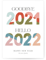 This is a orange non photo holiday card by Pixel and Hank called Hello New Year with standard printing on signature in standard.