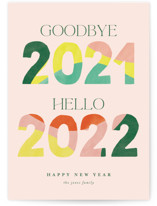 This is a pink non photo holiday card by Pixel and Hank called Hello New Year with standard printing on signature in standard.