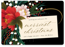 This is a black non photo holiday card by Angela Marzuki called festive tag with standard printing on signature in standard.