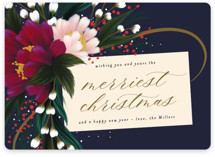 This is a blue non photo holiday card by Angela Marzuki called festive tag with standard printing on signature in standard.