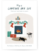 This is a blue non photo holiday card by Jana Volfova called Cool Cat with standard printing on signature in standard.