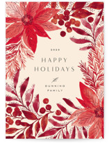 This is a red non photo holiday card by Alethea and Ruth called Painted Poinsettia Sketch with standard printing on signature in standard.