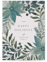 This is a blue non photo holiday card by Alethea and Ruth called Painted Poinsettia Sketch with standard printing on signature in standard.
