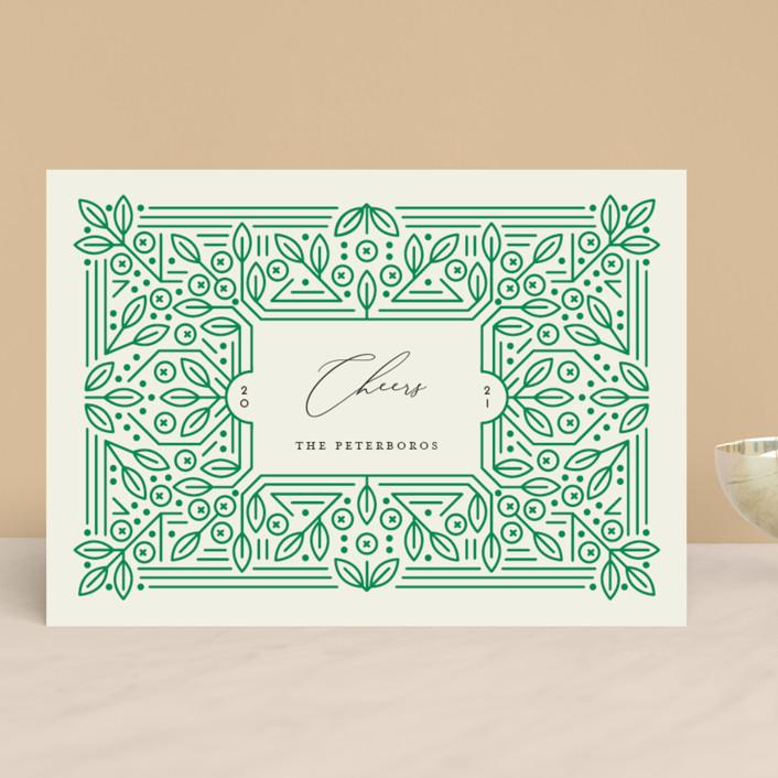 """Ornamental"" - Vintage Holiday Cards in Forest by Genna Blackburn."