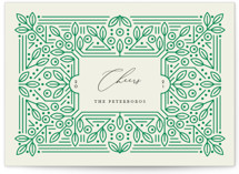 This is a green non photo holiday card by Genna Blackburn called Ornamental with standard printing on signature in standard.