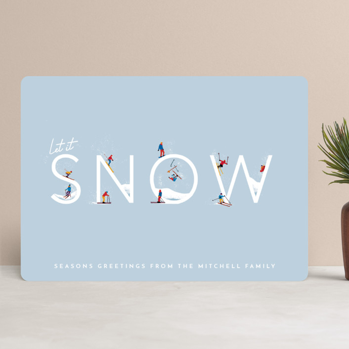 """""""Let it Snow Ski Hill"""" - Modern Holiday Cards in Frost by Laura Mitchell."""