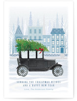 This is a black non photo holiday card by Paper Sun Studio called Old Town Road with standard printing on signature in standard.