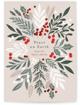 This is a beige non photo holiday card by Alethea and Ruth called Foliage Collection with standard printing on signature in standard.
