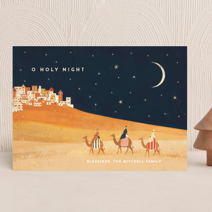"""""""O Holy Night"""" - Vintage Holiday Cards in Midnight by Laura Mitchell."""