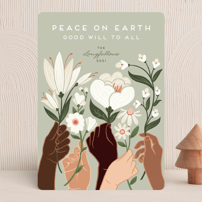 """Peace"" - Modern Holiday Cards in Olive by Jamie Alexander."