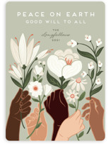 This is a green non photo holiday card by Jamie Alexander called Peace with standard printing on signature in standard.