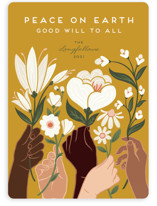 This is a yellow non photo holiday card by Jamie Alexander called Peace with standard printing on signature in standard.