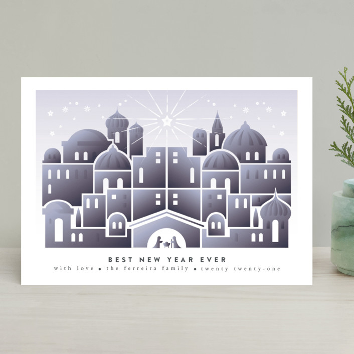 """Nativity"" - Vintage Holiday Cards in Celestial by Ana de Sousa."
