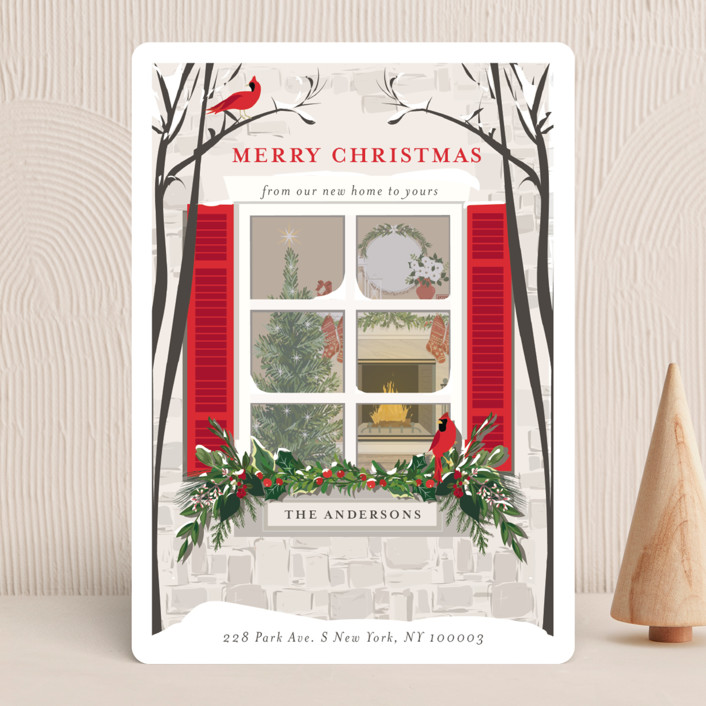 """Holiday Window"" - Holiday Cards in Crimson by Susan Moyal."