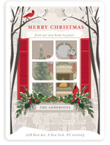 This is a red non photo holiday card by Susan Moyal called Holiday Window with standard printing on signature in standard.