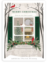 This is a green non photo holiday card by Susan Moyal called Holiday Window with standard printing on signature in standard.