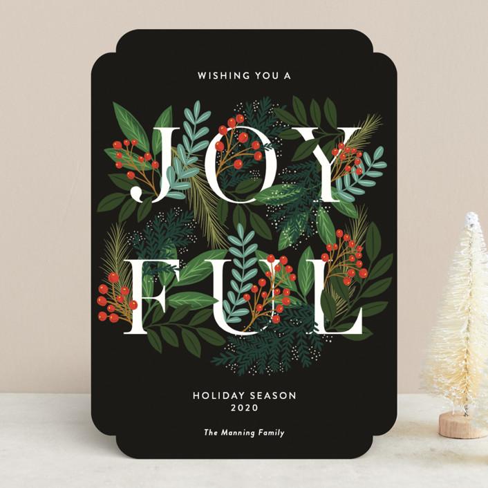 """A Joyful Holiday Season"" - Holiday Cards in Midnight by Yaling Hou Suzuki."