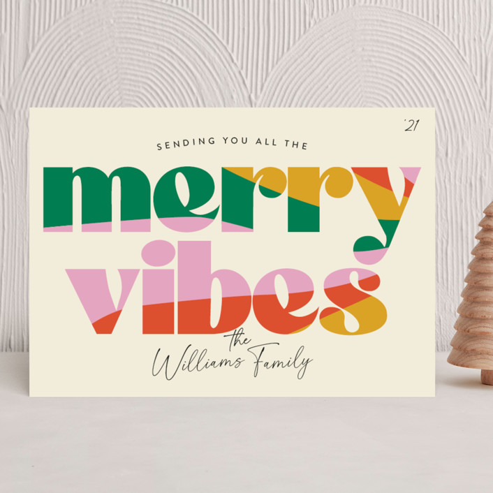 """""""Merry Vibes"""" - Vintage Holiday Cards in Holiday Punch by Robert and Stella."""