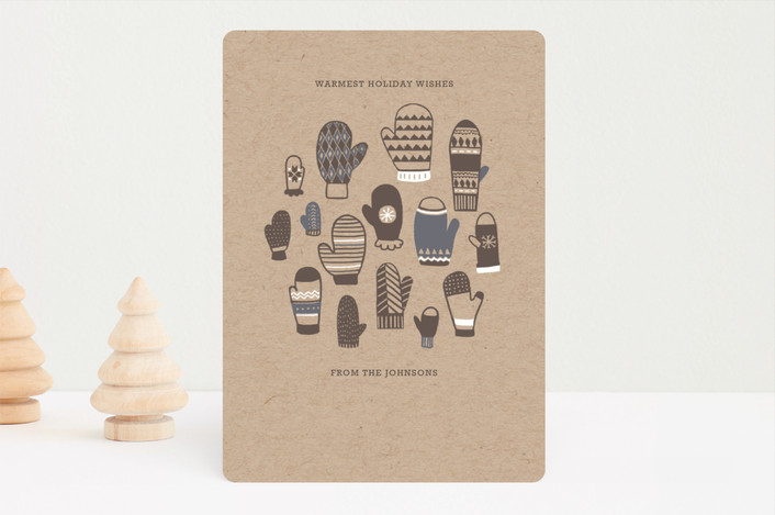 """Mitten Pattern Holiday Card"" - Holiday Cards in Kraft by Lauren Kolm."