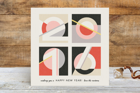 Geometric Numerals Holiday Cards