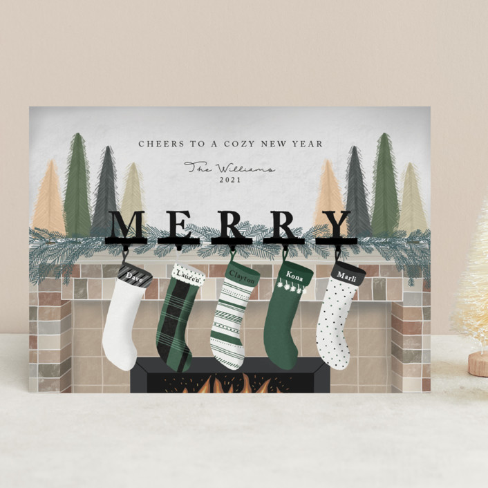 """""""Hearth Wishes"""" - Holiday Cards in Ponderosa Pine by Carolyn Kach."""