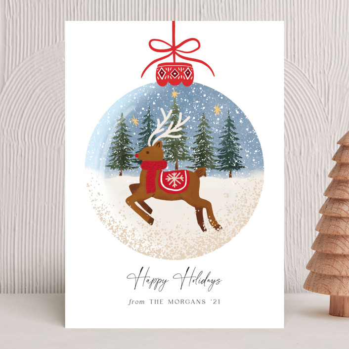 """""""Rudolph"""" - Bohemian Holiday Cards in Cherry by Elly."""