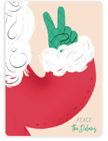 This is a green non photo holiday card by Baumbirdy called Santa Peace with standard printing on signature in standard.