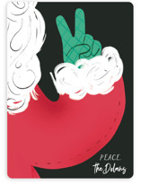 This is a black non photo holiday card by Baumbirdy called Santa Peace with standard printing on signature in standard.
