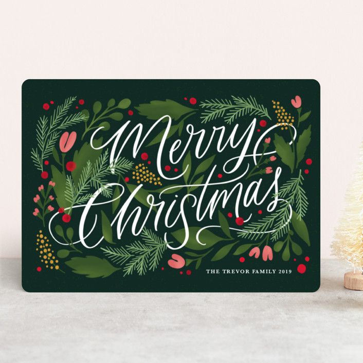 """""""Floral Embellishment"""" - Holiday Cards in Evergreen by Kristen Smith."""