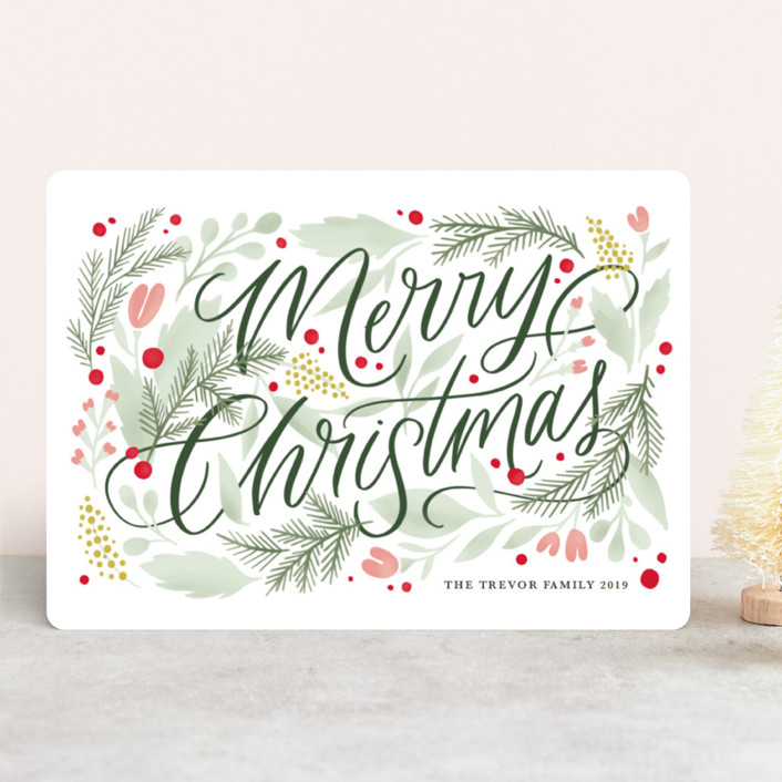 """Floral Embellishment"" - Holiday Cards in Moss by Kristen Smith."