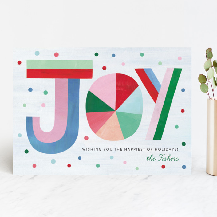 """""""Hand Lettered Joy"""" - Modern Holiday Cards in Bubblegum by melanie mikecz."""