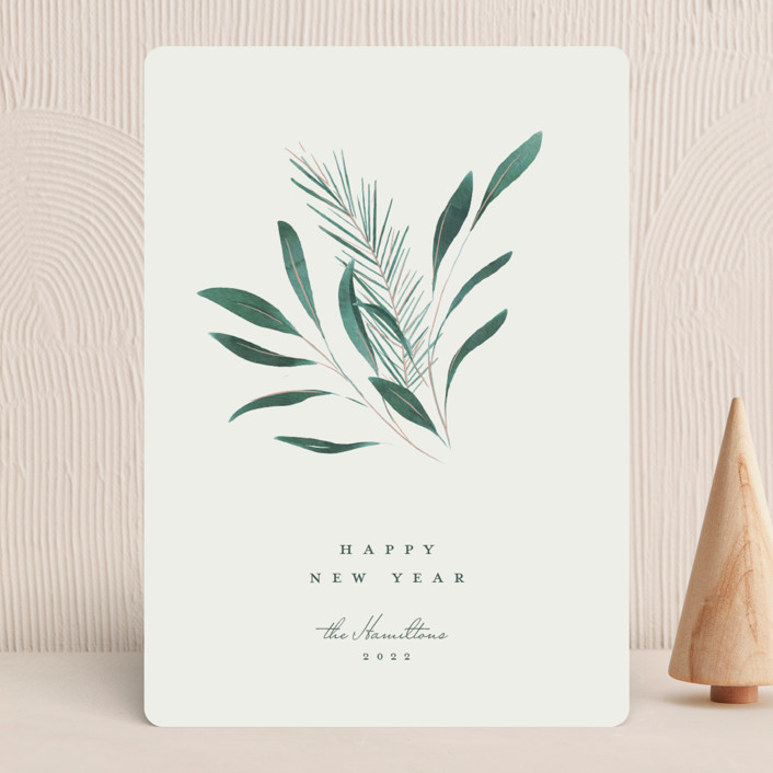 """Winter Posy"" - Holiday Cards in Juniper by Calluna Fine Paper."