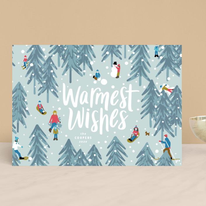 """""""Winter Fun"""" - Holiday Cards in Wintermint by Meggy Masters."""