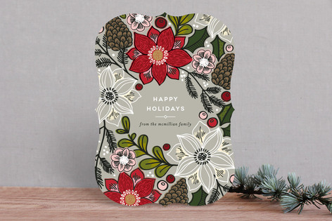 Poinsettias and Pinecones Holiday Cards