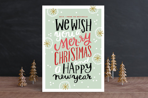 Caroling Typography Holiday Cards