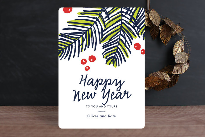 """Modern Pine"" - Bold typographic, Modern Holiday Cards in Navy by Oscar & Emma."