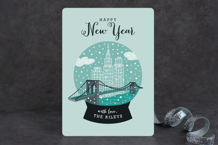 """NYC Snow Globe"" - Cities & States, Modern Holiday Cards in Aqua by Yolanda Mariak Chendak."