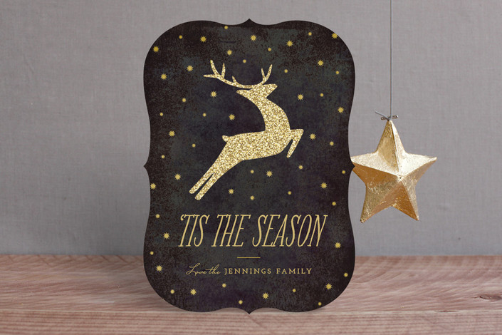 """Festive Reindeer"" - Classical, Elegant Holiday Cards in Midnight by Griffinbell Paper Co.."