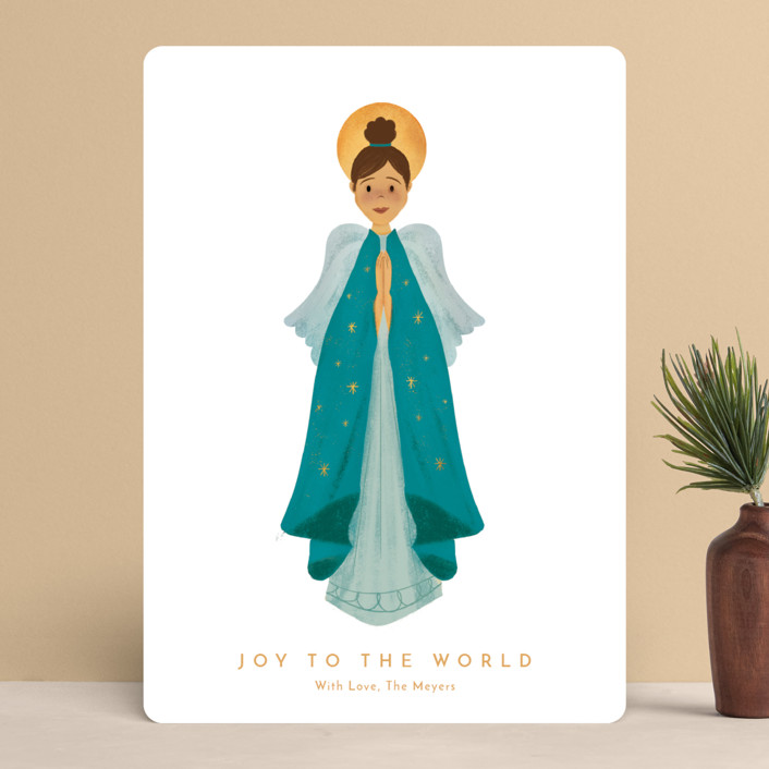 """""""Joy to the World"""" - Modern Holiday Cards in Teal by Laura Mitchell."""