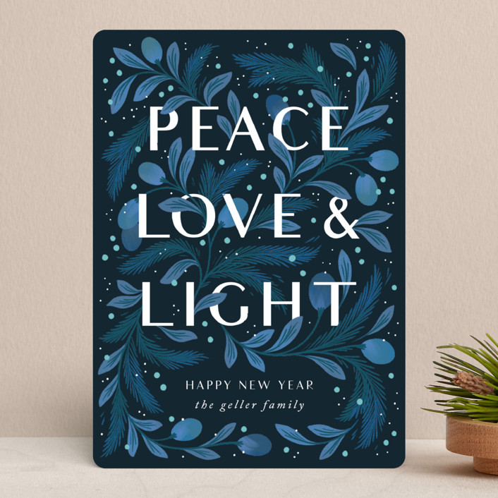 """""""Peace Love and Light"""" - Holiday Cards in Pine by Paper Raven Co.."""