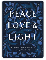 This is a blue non photo holiday card by Paper Raven Co. called Peace Love and Light with standard printing on signature in standard.