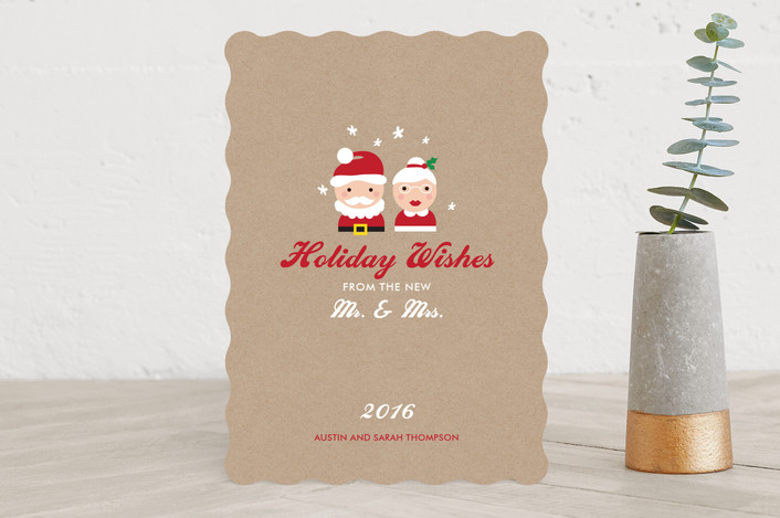 """""""Mr. & Mrs. Wishes"""" - Elegant Holiday Cards in Natural Kraft by sweet street gals."""