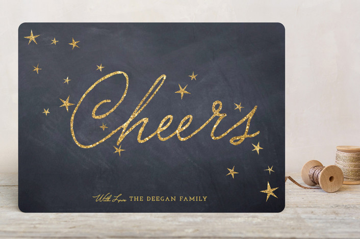 """""""Sparkling Peace"""" - Chalkboard Holiday Cards in Charcoal by Erin Deegan."""