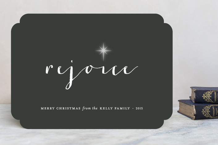 """""""Rejoice"""" - Minimalist Holiday Cards in Steel by Sara Hicks Malone."""
