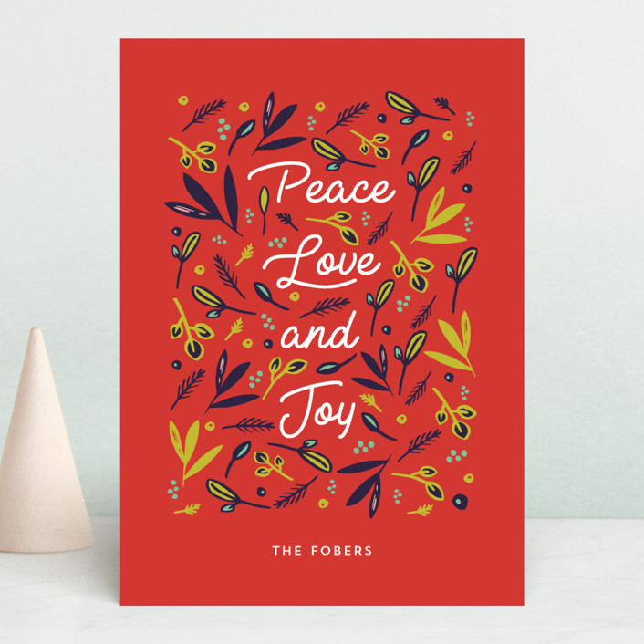 """""""Peace Love Joy Triple"""" - Holiday Cards in Berry by Erika Firm."""